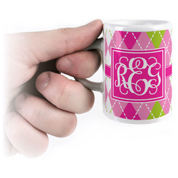 Pink & Green Argyle Espresso Cups (Personalized)