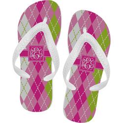Pink & Green Argyle Flip Flops (Personalized)