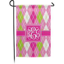 Pink & Green Argyle Garden Flag - Single or Double Sided (Personalized)
