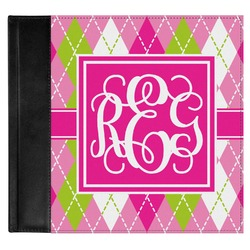 Pink & Green Argyle Genuine Leather Baby Memory Book (Personalized)