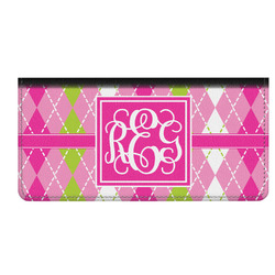 Pink & Green Argyle Genuine Leather Checkbook Cover (Personalized)