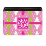 Pink & Green Argyle Genuine Leather Front Pocket Wallet (Personalized)