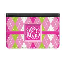 Pink & Green Argyle Genuine Leather ID & Card Wallet - Slim Style (Personalized)