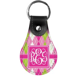 Pink & Green Argyle Genuine Leather  Keychain (Personalized)