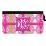 Pink & Green Argyle Genuine Leather Ladies Zippered Wallet (Personalized)