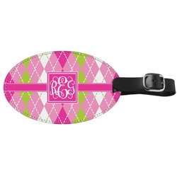 Pink & Green Argyle Genuine Leather Oval Luggage Tag (Personalized)