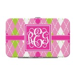 Pink & Green Argyle Genuine Leather Small Framed Wallet (Personalized)