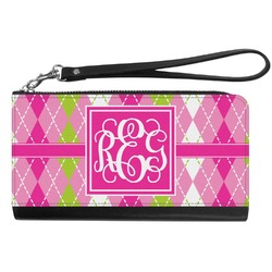Pink & Green Argyle Genuine Leather Smartphone Wrist Wallet (Personalized)