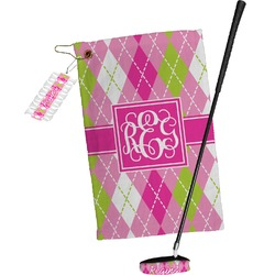 Pink & Green Argyle Golf Towel Gift Set (Personalized)