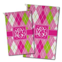 Pink & Green Argyle Golf Towel - Full Print w/ Monogram