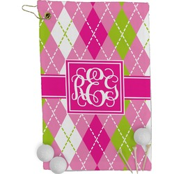 Pink & Green Argyle Golf Towel - Full Print (Personalized)