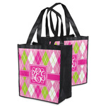 Pink & Green Argyle Grocery Bag (Personalized)