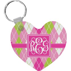 Pink & Green Argyle Heart Keychain (Personalized)