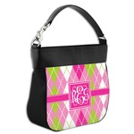 Pink & Green Argyle Hobo Purse w/ Genuine Leather Trim (Personalized)