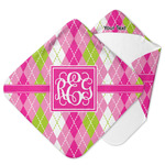 Pink & Green Argyle Hooded Baby Towel (Personalized)