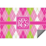 Pink & Green Argyle Indoor / Outdoor Rug (Personalized)