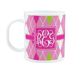 Pink & Green Argyle Plastic Kids Mug (Personalized)