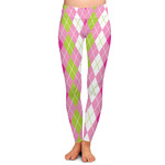 Pink & Green Argyle Ladies Leggings (Personalized)