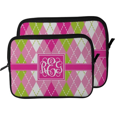 Pink & Green Argyle Laptop Sleeve / Case (Personalized)