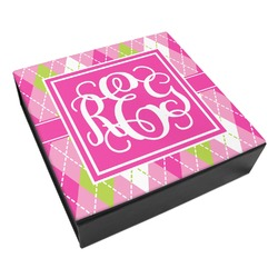 Pink & Green Argyle Leatherette Keepsake Box - 3 Sizes (Personalized)