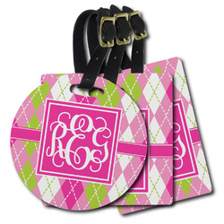 Pink & Green Argyle Plastic Luggage Tags (Personalized)