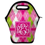 Pink & Green Argyle Lunch Bag w/ Monogram