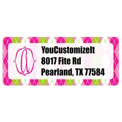 Pink & Green Argyle Return Address Label (Personalized)
