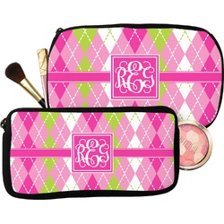 Pink & Green Argyle Makeup / Cosmetic Bag (Personalized)