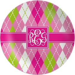 Pink & Green Argyle Melamine Plate (Personalized)