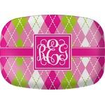 Pink & Green Argyle Melamine Platter (Personalized)