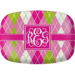 Pink & Green Argyle Melamine Platter (Personalized)
