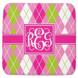"Pink & Green Argyle Memory Foam Bath Mat - 48""x48"" (Personalized)"
