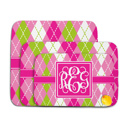 Pink & Green Argyle Memory Foam Bath Mat (Personalized)