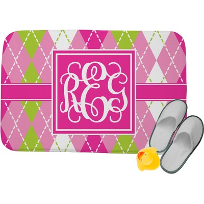 "Pink & Green Argyle Memory Foam Bath Mat - 34""x21"" (Personalized)"