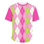Pink & Green Argyle Men's Crew T-Shirt (Personalized)