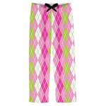 Pink & Green Argyle Mens Pajama Pants (Personalized)