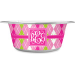 Pink & Green Argyle Stainless Steel Dog Bowl (Personalized)