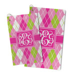 Pink & Green Argyle Microfiber Golf Towel (Personalized)