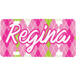 Pink & Green Argyle Mini / Bicycle License Plate (Personalized)