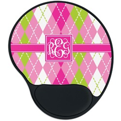 Pink & Green Argyle Mouse Pad with Wrist Support