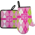 Pink & Green Argyle Oven Mitt & Pot Holder (Personalized)