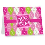 Pink & Green Argyle Notecards (Personalized)