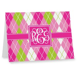 Pink & Green Argyle Note cards (Personalized)