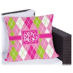Pink & Green Argyle Outdoor Pillow (Personalized)