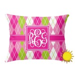 Pink & Green Argyle Outdoor Throw Pillow (Rectangular) (Personalized)