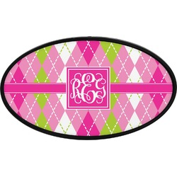 Pink & Green Argyle Oval Trailer Hitch Cover (Personalized)