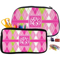 Pink & Green Argyle Pencil / School Supplies Bag (Personalized)