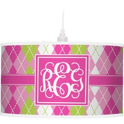 Pink & Green Argyle Pendant Lamp (Personalized)