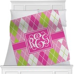 Pink & Green Argyle Minky Blanket (Personalized)