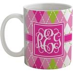 Pink & Green Argyle Coffee Mug (Personalized)